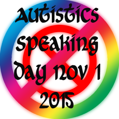 Rainbow and red logo for Autistics Speaking Day with the words Autistics Speaking Day Nov 1 2015 across the front