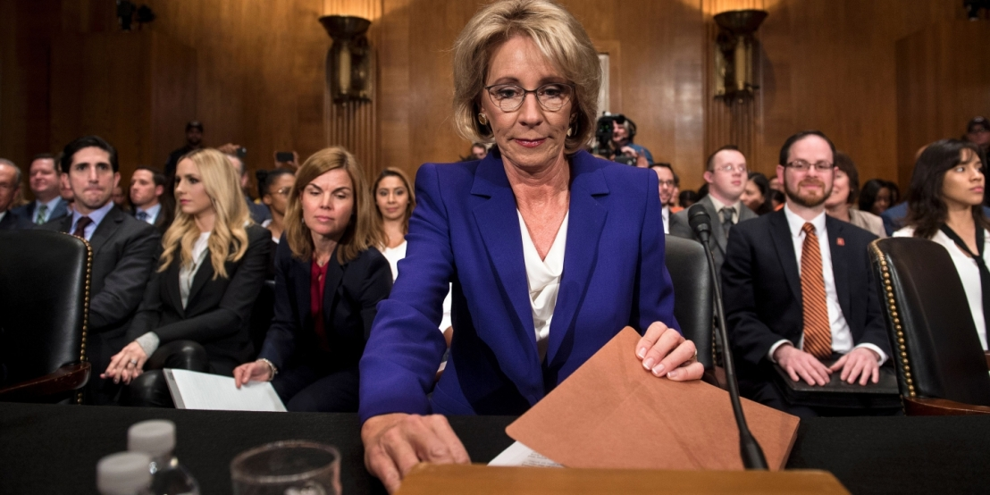 Betsy Devos prepares for her Senate Confirmation hearing for the position of Secretary of Education